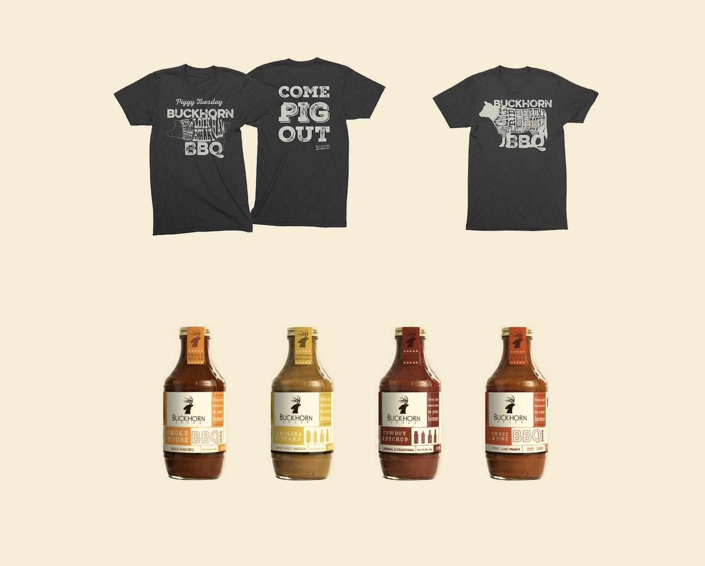 sacrametno retail design food packaging bbq suace store tshirt